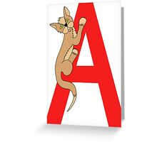 Cat Alphabet Letter A Greeting Card