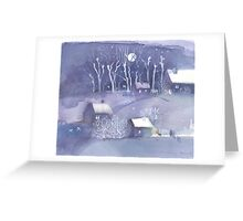 Winter village at night Greeting Card