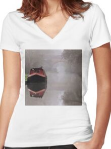 Mystical Barge on the Canal Women's Fitted V-Neck T-Shirt