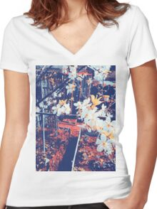 Halftone Blossoms Women's Fitted V-Neck T-Shirt
