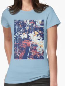 Halftone Blossoms Womens Fitted T-Shirt