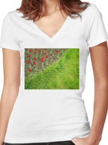 Red Tulips and Green Grass Women's Fitted V-Neck T-Shirt
