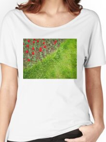 Red Tulips and Green Grass Women's Relaxed Fit T-Shirt