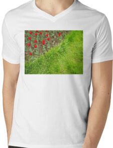 Red Tulips and Green Grass Mens V-Neck T-Shirt