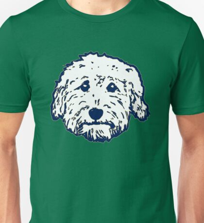 Goldendoodle face in navy and green!  Unisex T-Shirt