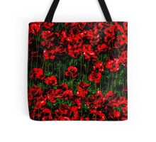 Poppy fields of remembrance for WW1 at Tower of London - square photo Tote Bag