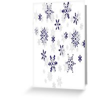Blue and White Holiday Snowflakes Greeting Card