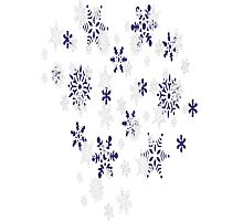 Blue and White Holiday Snowflakes Photographic Print