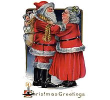 Vintage Christmas Greetings from Mr and Mrs Claus Photographic Print