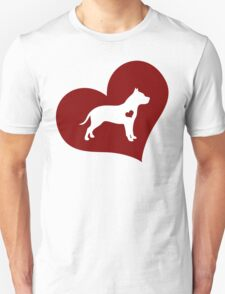 Pitbull in a Red Heart  T-Shirt