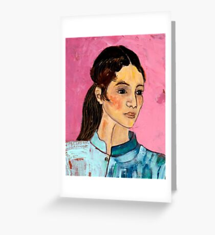 Woman in a Blue Jacket Greeting Card