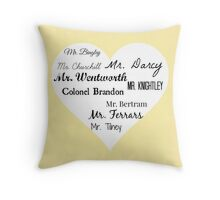 Jane Austen's Men Throw Pillow