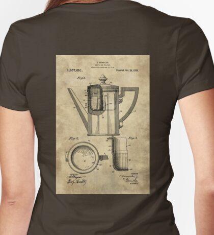 Antique coffee pot blueprint patent illustration kitchen art Womens Fitted T-Shirt