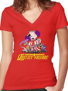 JUSTICE FRIENDS Women's Fitted V-Neck T-Shirt