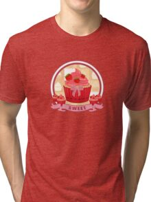 Sweet Strawberry Cupcake Tri-blend T-Shirt