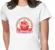 Sweet Strawberry Cupcake Womens Fitted T-Shirt