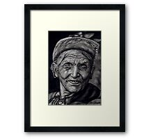nepali old woman Framed Print