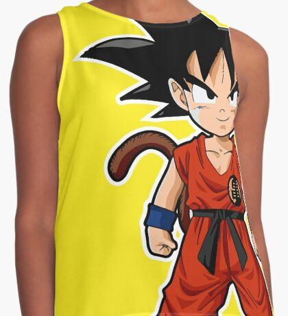 Young Kid Saiyan Goku in Yellow Contrast Tank
