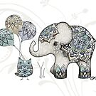 Owl & Elephant Mandala Blue Mint by © Karin Taylor