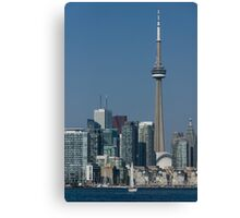 Up Close and Personal - CN Tower, Toronto Harbor and the City Skyline From a Boat Canvas Print