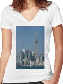 Up Close and Personal - CN Tower, Toronto Harbor and the City Skyline From a Boat Women's Fitted V-Neck T-Shirt