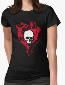 Heart and Skull Womens Fitted T-Shirt