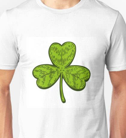 Patrick day good luck three leaf clover. Vintage hand drown color vector engraving illustration for info graphic, poster, web, mobile. Isolated on white background. Unisex T-Shirt