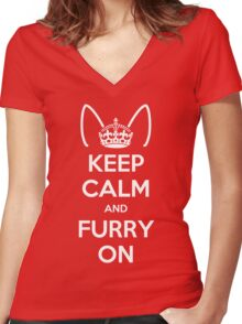 Keep Calm and Furry On Women's Fitted V-Neck T-Shirt