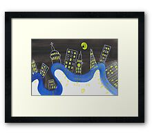 The London Thames and Skyline at Night Framed Print
