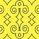 Yellow with Curls of Black by Julie Everhart by Julie Everhart