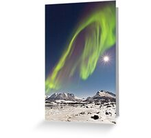 Aurora and full moon Greeting Card