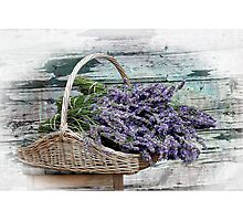 Lavender Basket, Shabby Chic image Photographic Print