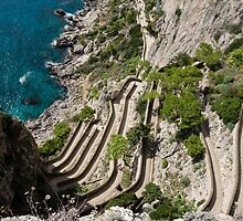 Contemplating Mediterranean Vacations - Via Krupp, Capri Island, Italy by Georgia Mizuleva