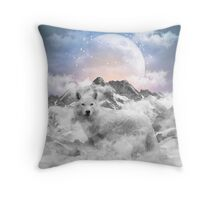 The Soul That Sees Beauty (Winter Moon / Wolf Spirit) Throw Pillow