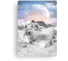 The Soul That Sees Beauty (Winter Moon / Wolf Spirit) Canvas Print