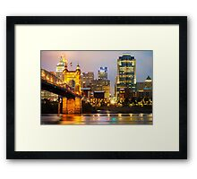 Cincinnati Skyline And The John A. Roebling Suspension Bridge Framed Print