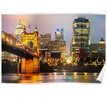 Cincinnati Skyline And The John A. Roebling Suspension Bridge Poster