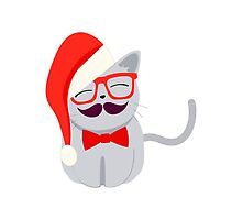Hipster Santa Cat by Eggtooth