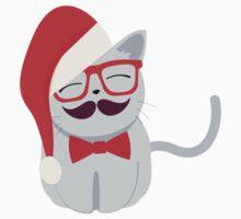 Hipster Santa Cat Kids Tee