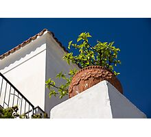 Contemplating Mediterranean Vacations - Red Tile Roofs and Terracotta Flowerpots Photographic Print