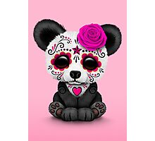 Pink Day of the Dead Sugar Skull Panda  Photographic Print