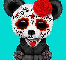 Red Day of the Dead Sugar Skull Panda on Blue by Jeff Bartels