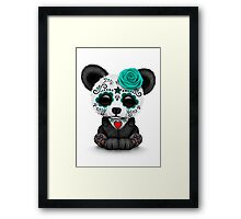 Teal Blue Day of the Dead Sugar Skull Panda  Framed Print