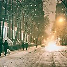 New York City - Winter Night - Snow Falls On Washington Square  by Vivienne Gucwa