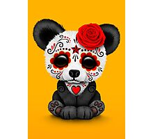 Red Day of the Dead Sugar Skull Panda on Yellow Photographic Print