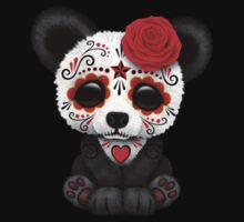 Red Day of the Dead Sugar Skull Panda on Yellow One Piece - Long Sleeve