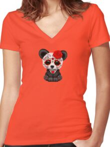 Red Day of the Dead Sugar Skull Panda on Yellow Women's Fitted V-Neck T-Shirt