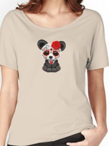 Red Day of the Dead Sugar Skull Panda on Yellow Women's Relaxed Fit T-Shirt