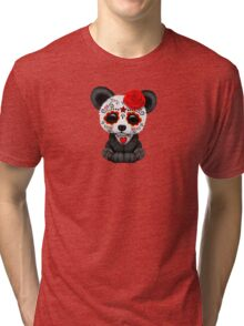Red Day of the Dead Sugar Skull Panda on Yellow Tri-blend T-Shirt