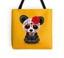 Red Day of the Dead Sugar Skull Panda on Yellow Tote Bag